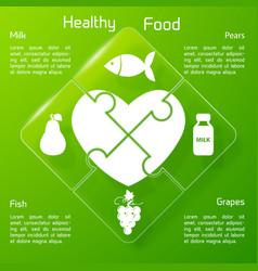 Healthy food concept puzzle design vector