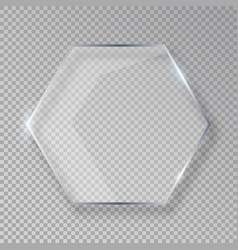 Hexagon shiny glass frame isolated on fake vector
