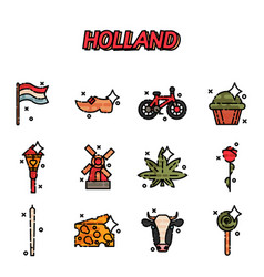 Holland flat icons set vector