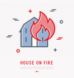 house on fire thin line icon vector image
