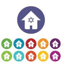 Judaic house icon set vector