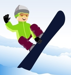 Jumping snowboarder keeps one hand on the board vector