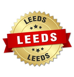 Leeds round golden badge with red ribbon vector