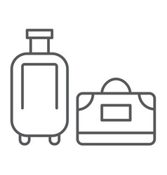 Luggage thin line icon travel and baggage vector