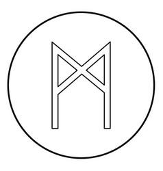 Mannaz rune man human symbol icon outline black vector