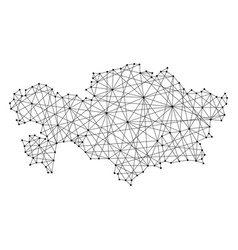 Map of kazakhstan from polygonal black lines vector