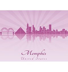 Memphis skyline in purple radiant orchid vector