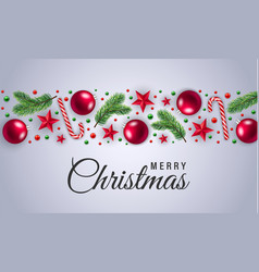 merry christmas red balls concept background vector image