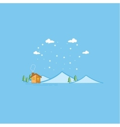 Mountain and house landscape vector