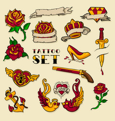old tattoo set vector image