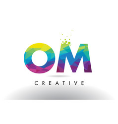 om o m colorful letter origami triangles design vector image