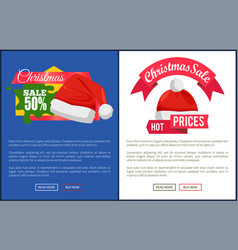 Online web page christmas sale and santa claus hat vector