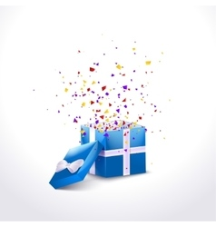 Opened Blue Gift Box with ribbon and flying vector