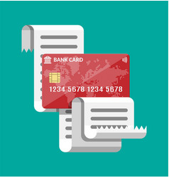 Paper receipt and and credit card vector