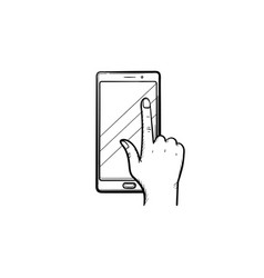 phone touchscreen hand drawn sketch icon vector image