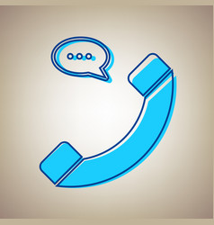 phone with speech bubble sign sky blue vector image