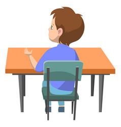 Pupil sitting table desk schoolboy student vector