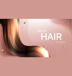 Realistic brown hair strand abstract poster vector