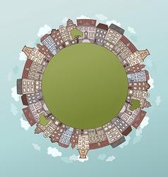 Round city landscape vector image