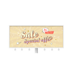 Sale special offer billboard with vintage card in vector