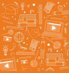 school accessories ornament doodle vector image