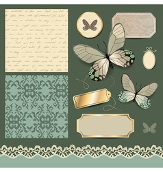 Scrap retro butterfly vector image