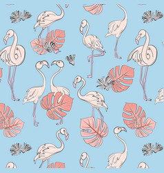 seamless flamingo and monstera leaves pattern vector image