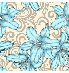 Seamless pattern with lilies flowers and swirls vector