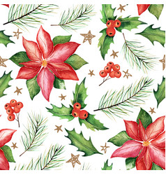 Seamless watercolor christmas pattern vector