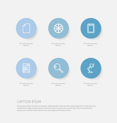 Set of 6 editable teach outline icons includes vector