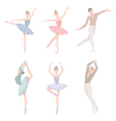 Set of ballet dancer in flat vector