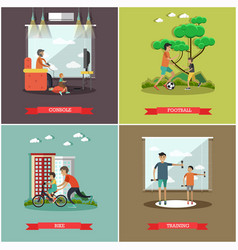 Set of father concept square posters in vector
