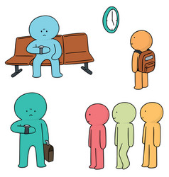 set of waiting people vector image