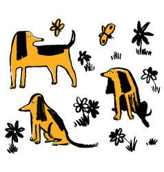 Set with cute funny dogs collection with pets vector