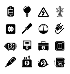 Silhouette Electricity power and energy icons vector
