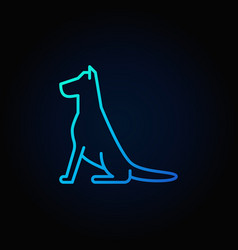 Sitting dog line blue icon vector