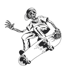 Skeleton playing skateboard vector