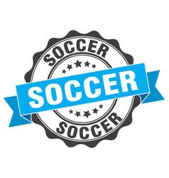 soccer stamp sign seal vector image