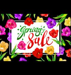 Spring sale banner colotful tulips flowers black vector