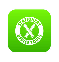 stationery office tool icon green vector image