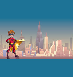 Super boy city background vector