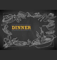 template different types dinner item vector image