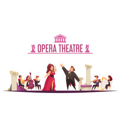 Theater orchestra performance cartoon vector