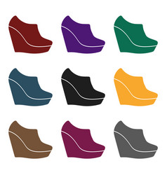 Wedge booties icon in black style isolated o vector