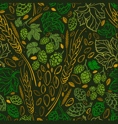 wheat seed hop doodle seamless pattern vector image