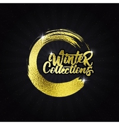 Winter collections gold effect calligraphic header vector image