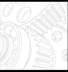 wire-frame reducer consisting of gears vector image