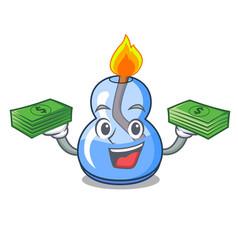 With money alcohol burner mascot cartoon vector
