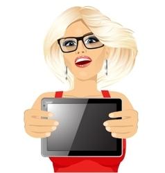 woman displaying tablet vector image