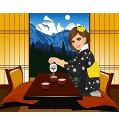 Woman in kimono pouring tea vector
